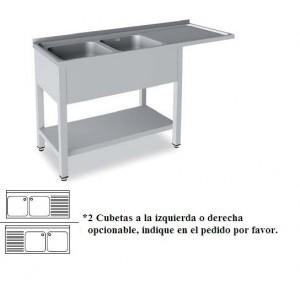 Fregadero Semi-Industrial Gama 500 Modelo para lavavasos 1350x500mm